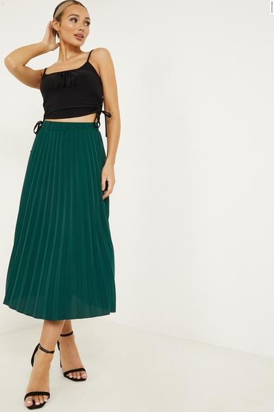 Bottle Green Satin Pleat Midi Skirt